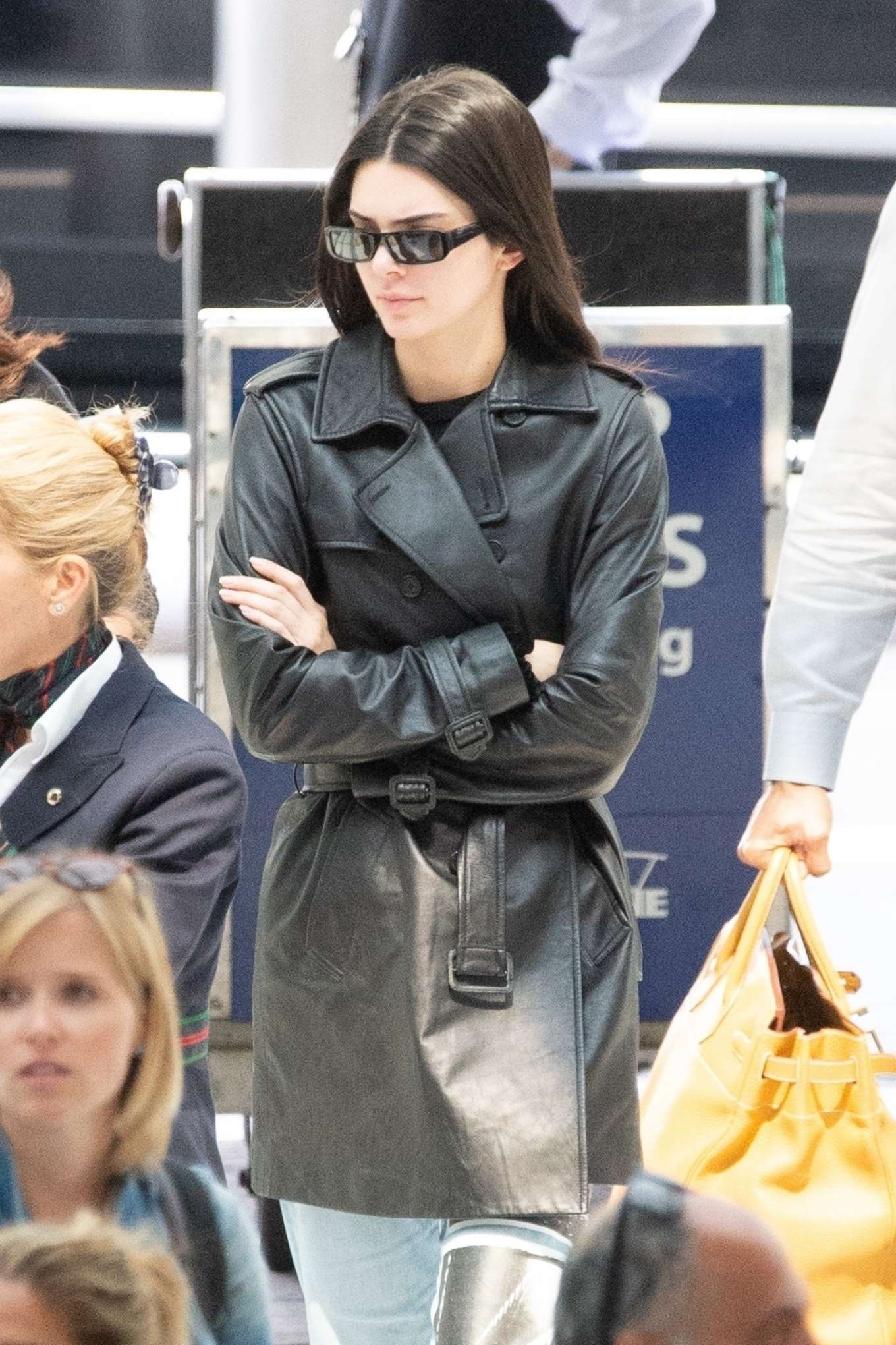 Kendall Jenner 2019 : Kendall Jenner: In long leather jacket at JFK-01
