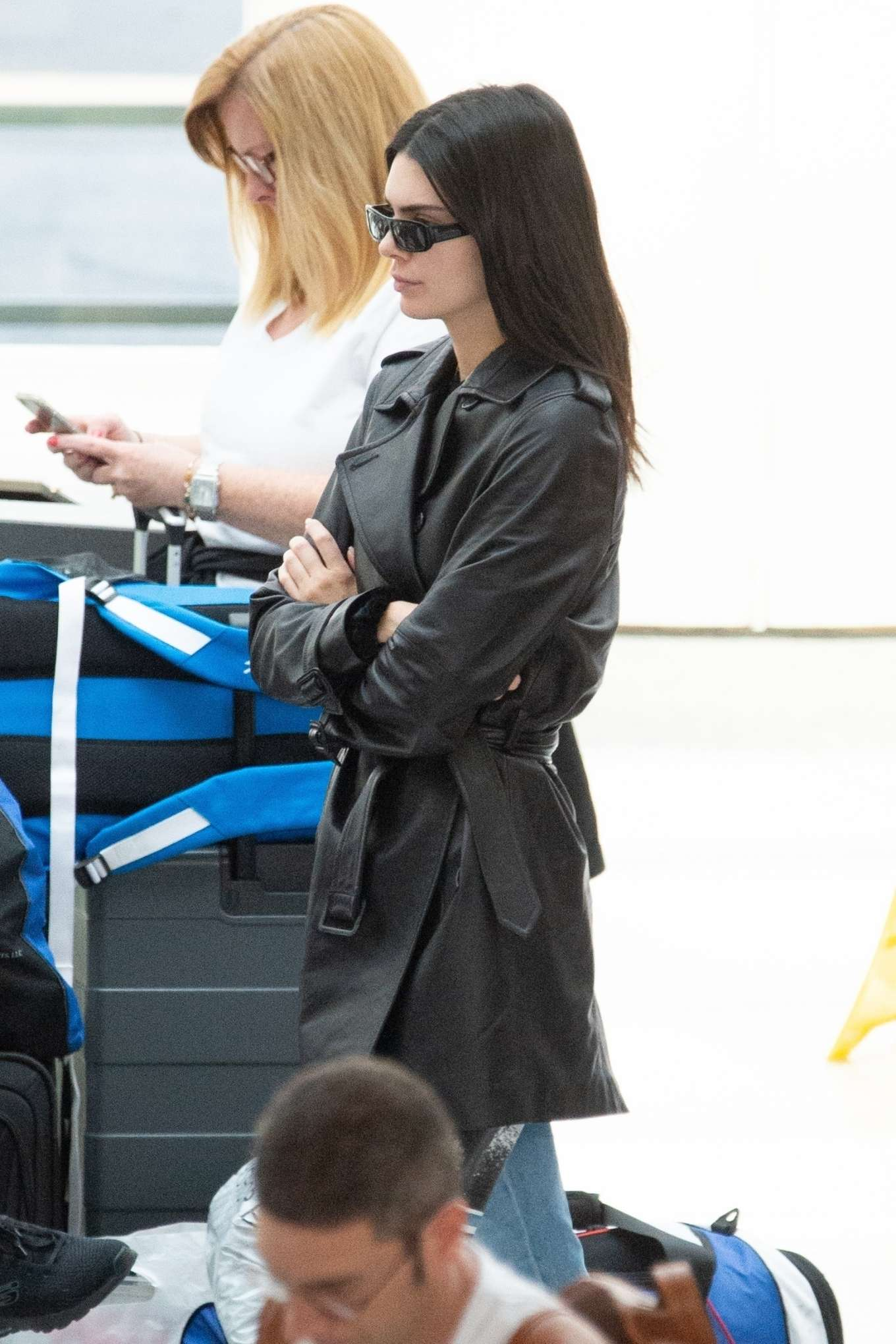 Kendall Jenner 2019 : Kendall Jenner: In long leather jacket at JFK-06