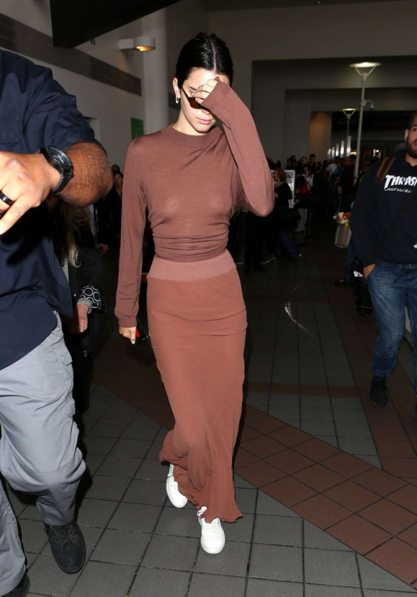 Kendall Jenner in Long Skirt at LAX Airport in LA
