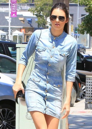 Kendall Jenner in Jeans Mini Dress Out in LA