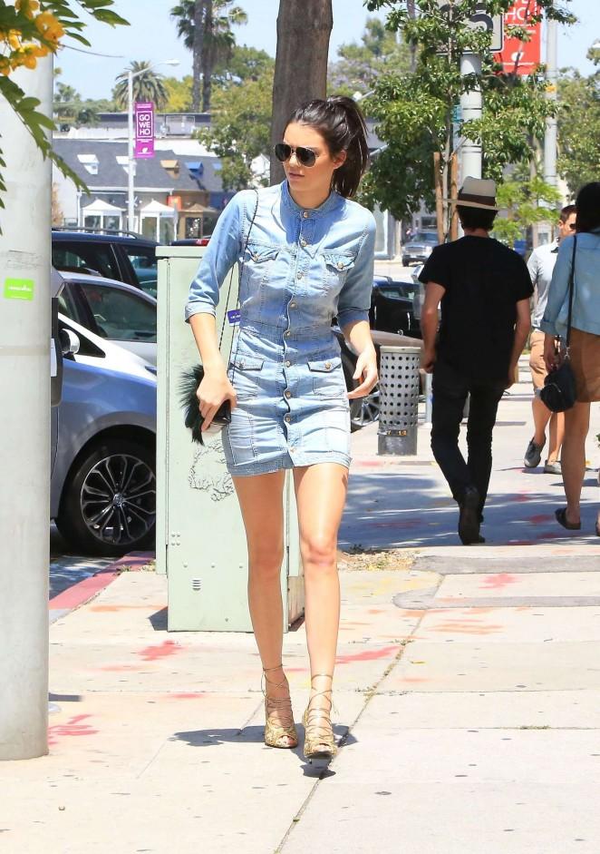 Kendall Jenner In Jeans Mini Dress 13