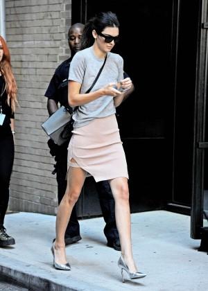 Kendall Jenner in Mini Skirt at Spring Studios in NY