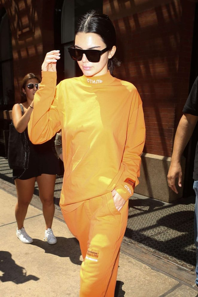 Kendall Jenner in Orange Leaving her hotel in NYC