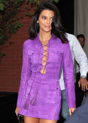 Kendall Jenner in Purple Mini Dress - Leaves her hotel in NYC