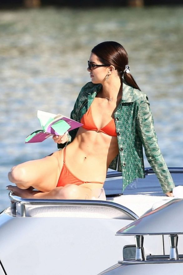 Kendall Jenner in Red Bikini on a yacht in Miami