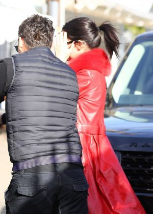 Kendall Jenner in Red Coat - Grabs lunch in Los Angeles