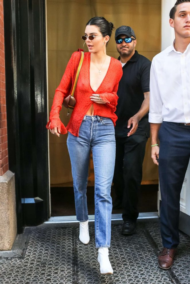 Kendall Jenner in Red out in NYC -14