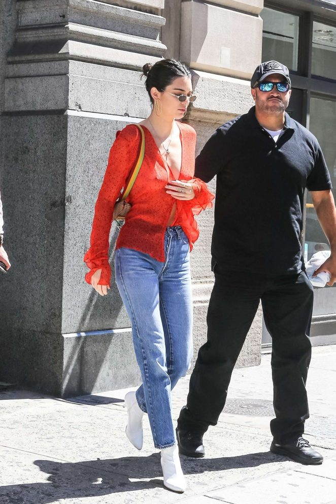 Kendall Jenner in Red out in NYC -18