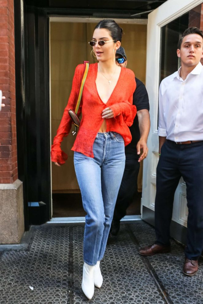 Kendall Jenner in Red out in NYC -20