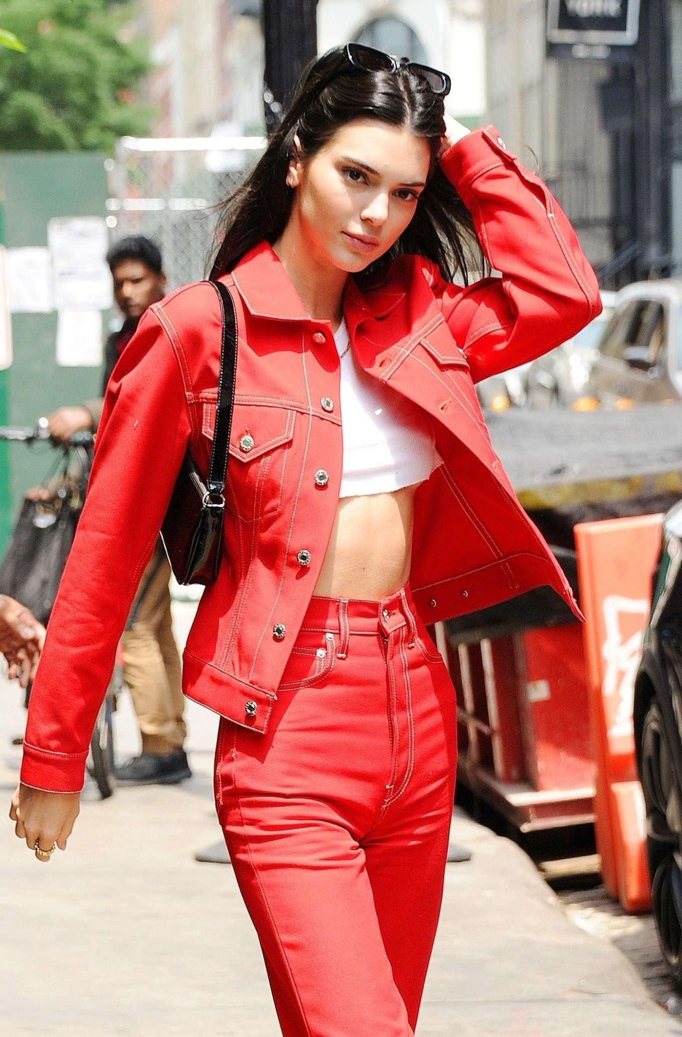 Kendall Jenner in Red Outfit - Out in NYC