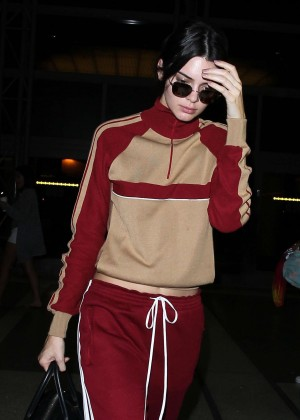 Kendall Jenner in Red Sweats at LAX Airport in Los Angeles