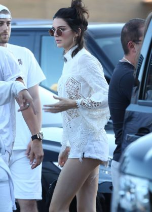 Kendall Jenner in Shorts at Nobu in Los Angeles