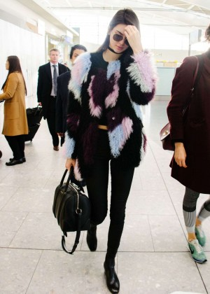 Kendall Jenner in Tights at Heathrow Airport in London