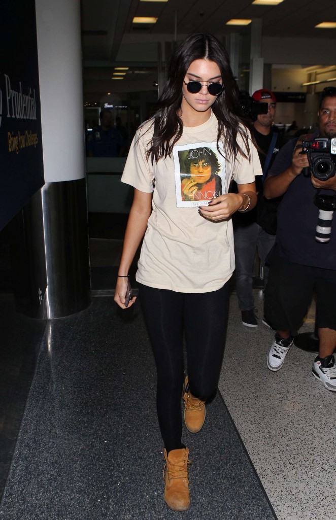 Kendall Jenner in Tights at LAX airport in LA