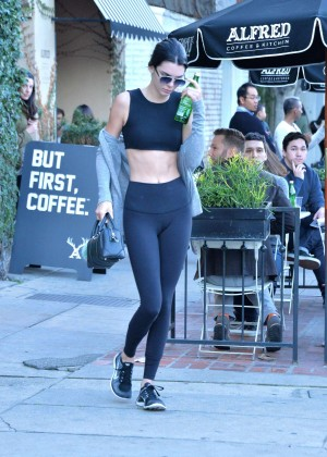 Kendall Jenner in Tights and Sports Bra -01