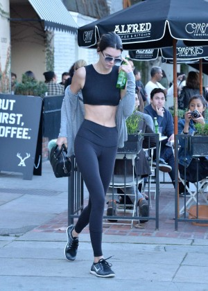 Kendall Jenner in Tights and Sports Bra out in Beverly Hills