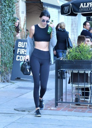 Kendall Jenner in Tights and Sports Bra -04