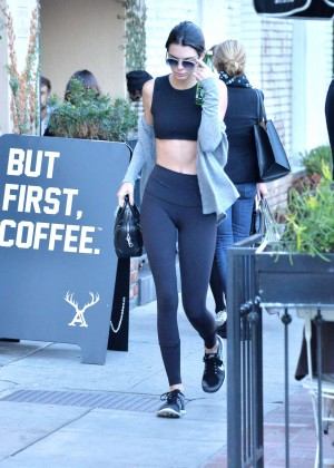 Kendall Jenner in Tights and Sports Bra -12
