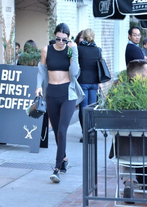 Kendall Jenner in Tights and Sports Bra -17