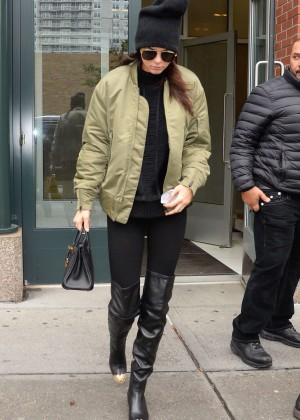Kendall Jenner in Tights out and about in NY