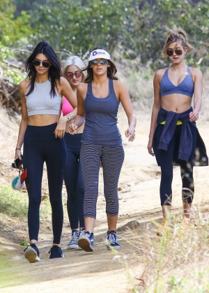 Kendall Jenner in Tights out for a hike -10