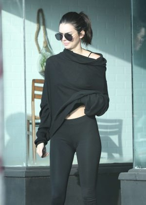 Kendall Jenner in Tights Shopping in West Hollywood