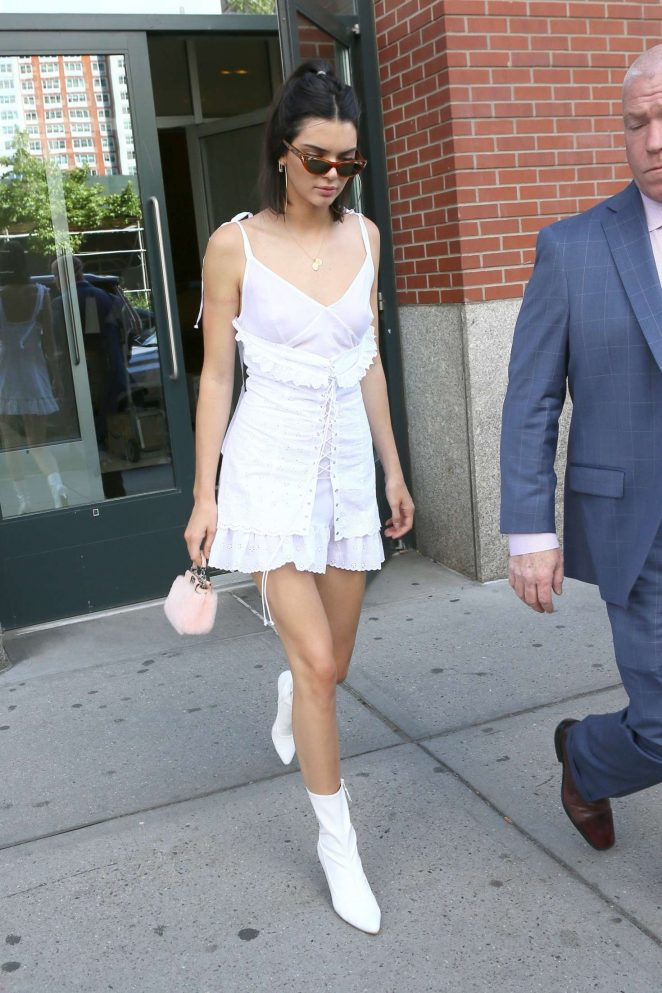 Kendall Jenner in White Mini Dress out in NYC