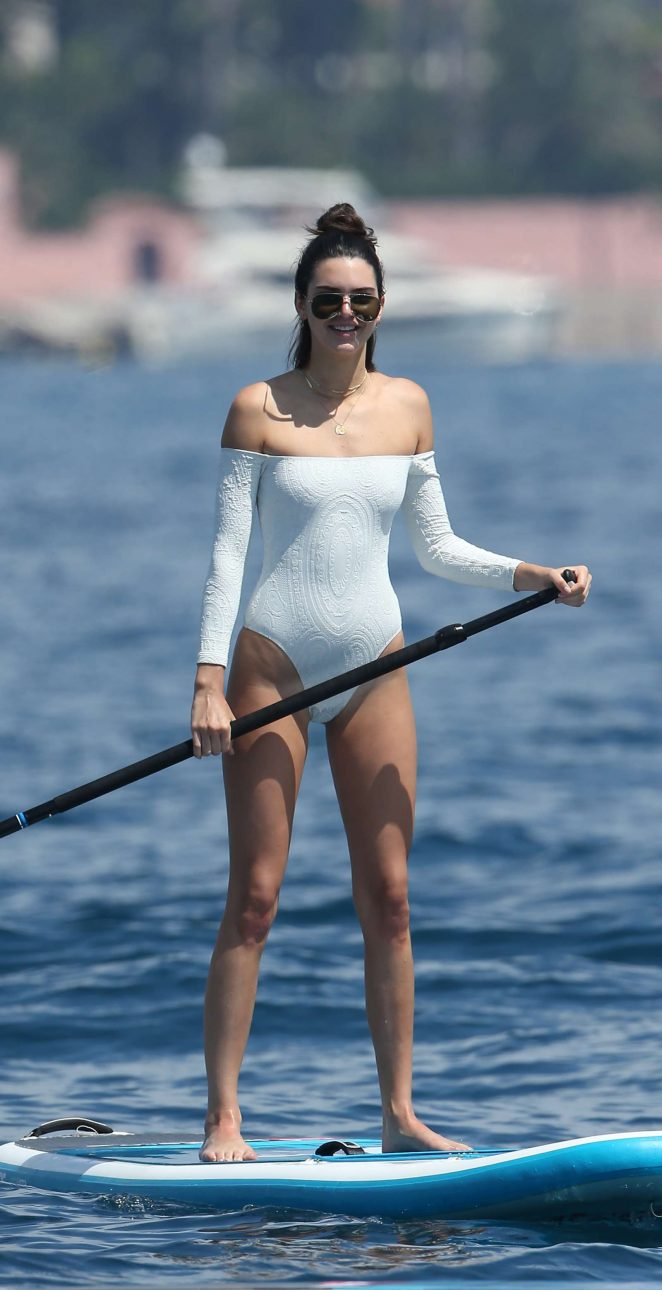 Kendall Jenner in White Swimsuit in Cannes