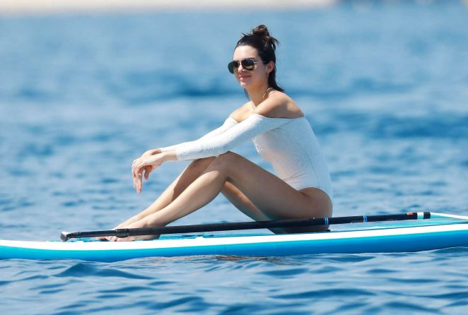 7ff813a294bd1 Kendall Jenner in White Swimsuit -85 | GotCeleb