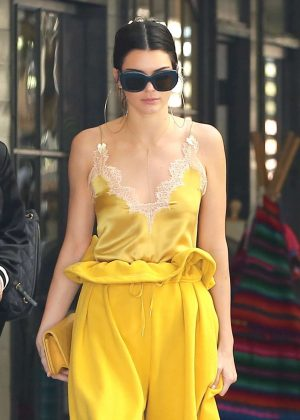 Kendall Jenner in Yellow outfit out in LA