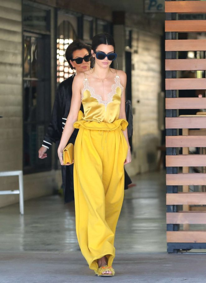Kendall Jenner in Yellow outfit out in LA -09