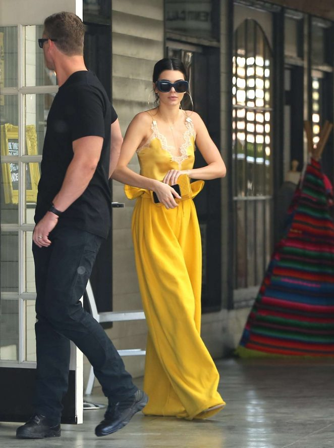 Kendall Jenner in Yellow outfit out in LA -10