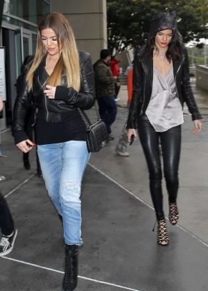Kendall Jenner and Khloe Kardashian at Staples Center -01