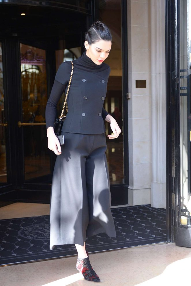 Kendall Jenner - Leaving at Four Seasons Hotel George V in Paris