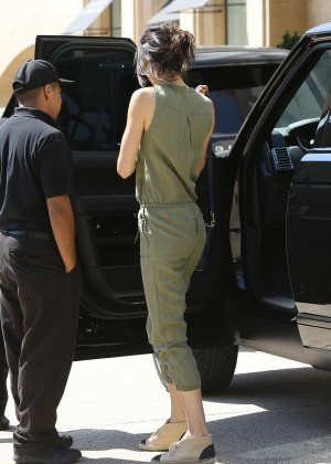 Kendall Jenner in Green Jumpsuit Leaving Barney's New York in LA