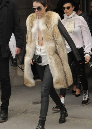 Kendall Jenner in Fur Coat out in Paris