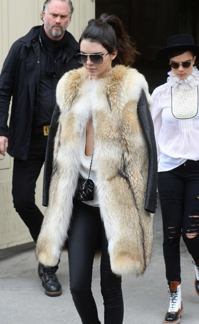 Kendall Jenner in Fur Coat -08