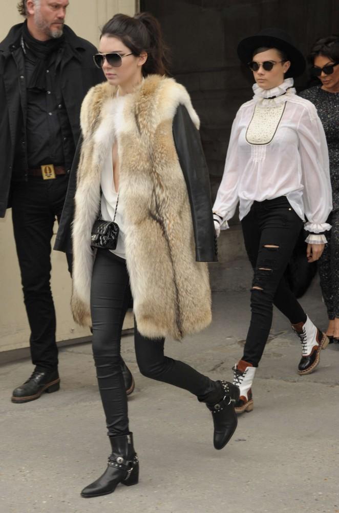 Kendall Jenner 2015 : Kendall Jenner in Fur Coat -22