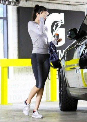 Kendall Jenner in Leggings Leaving the gym in Beverly Hills