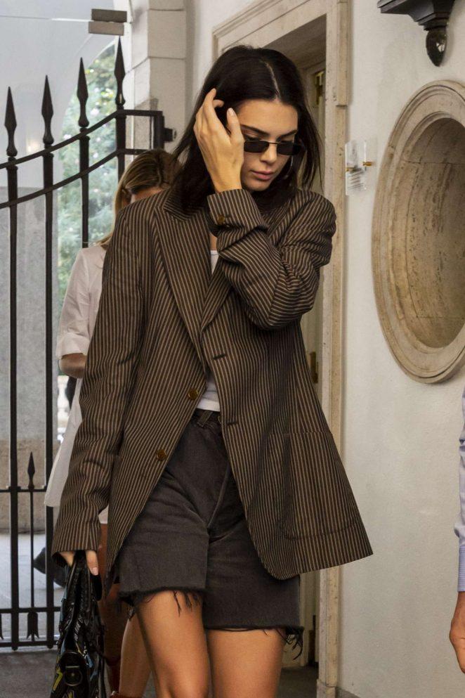 Kendall Jenner - Leaving Versace Showroom in Milan