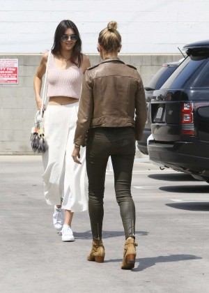 Kendall Jenner in White Skirt Out in LA