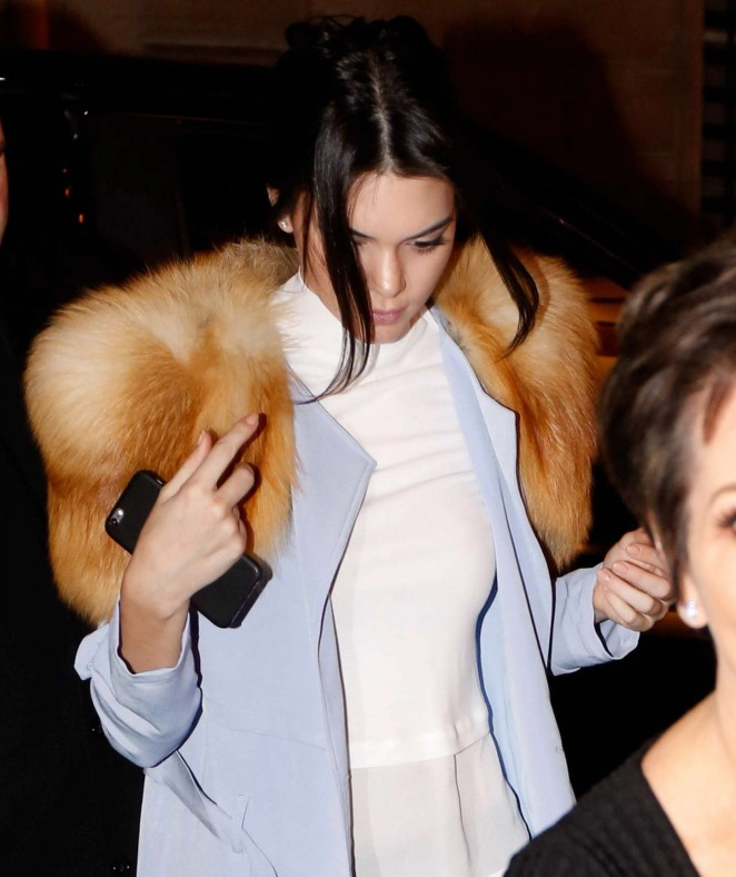 Kendall Jenner in Leather Out in Paris