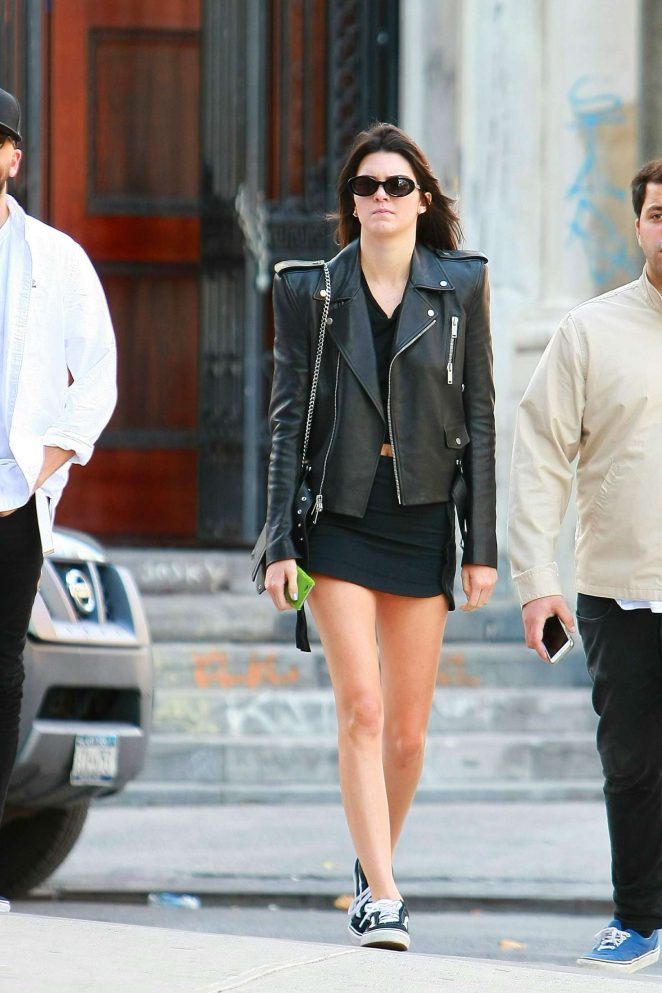 Kendall Jenner in Mini Skirt and Leather Jacket in Manhattan