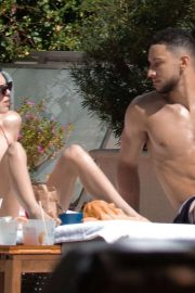 Kendall Jenner - Poolside bikini candids with her BF in Miami