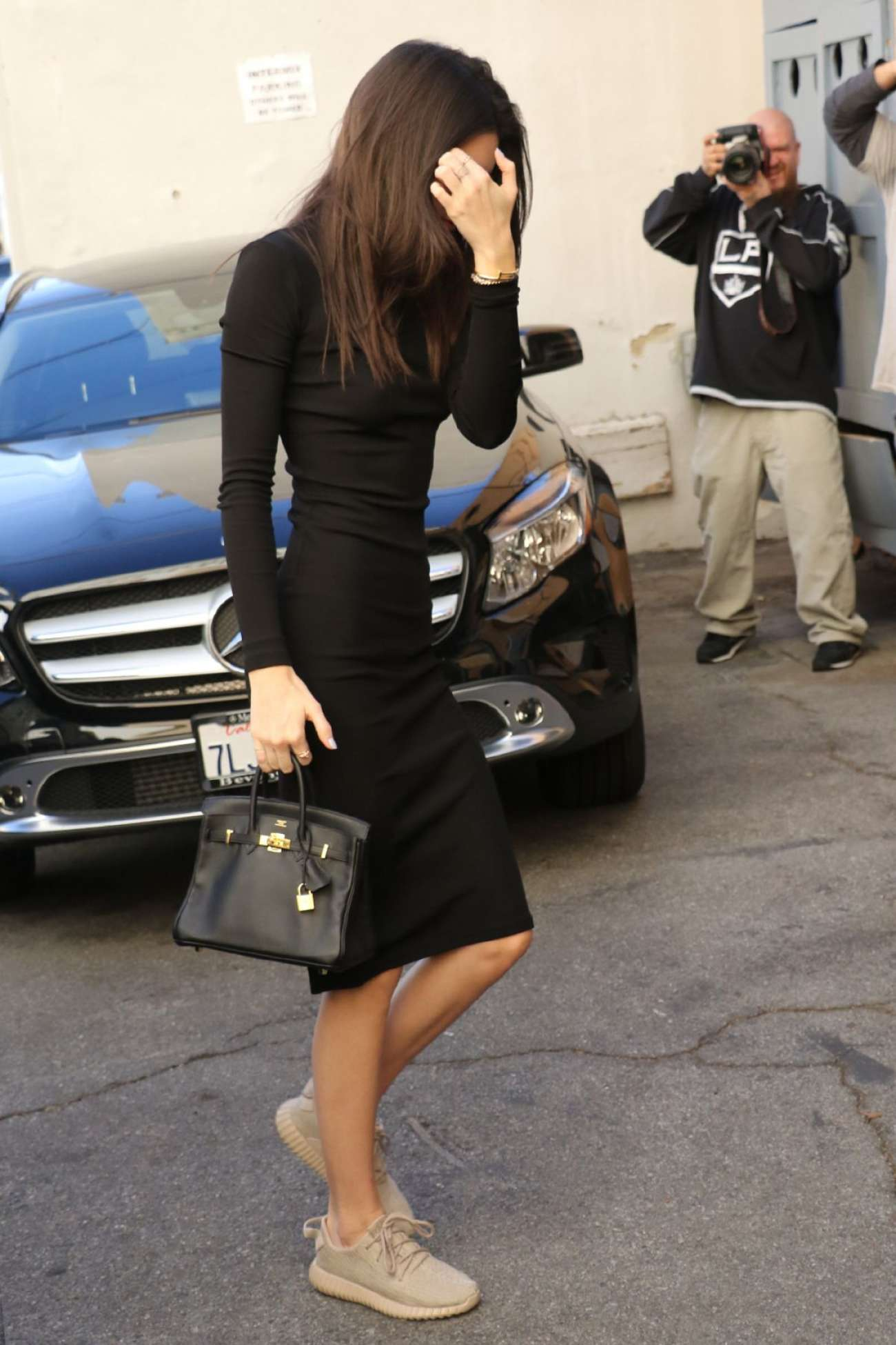 Kendall Jenner in Black Dress Shopping in West Hollywood