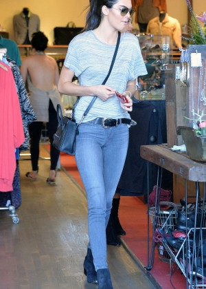 Kendall Jenner in Jeans Shopping in West Hollywood