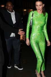 Kendall Jenner - wearing a co-ord by Saks Potts with PVC heels by Amina Muaddi at Sony BRITs after-party in London