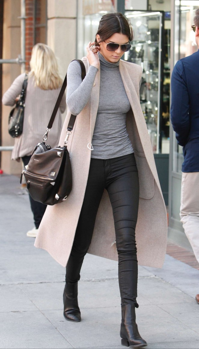 Kendall Jenner in Black Tight Pants -06