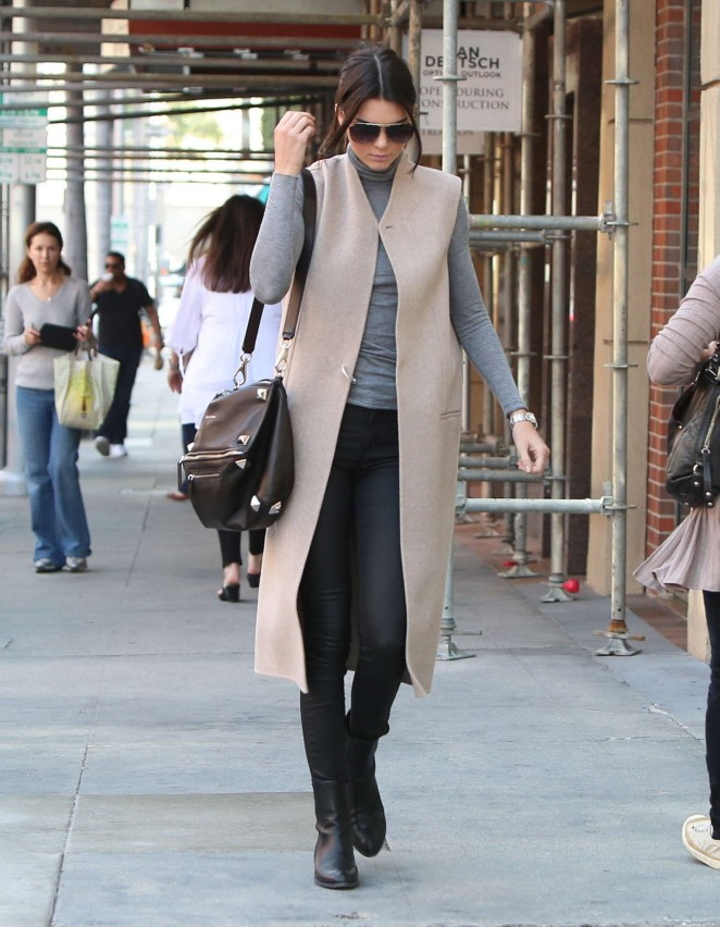 Kendall Jenner in Black Tight Pants -11