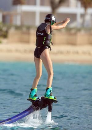 Kendall Jenner in Black Swimsuit -01